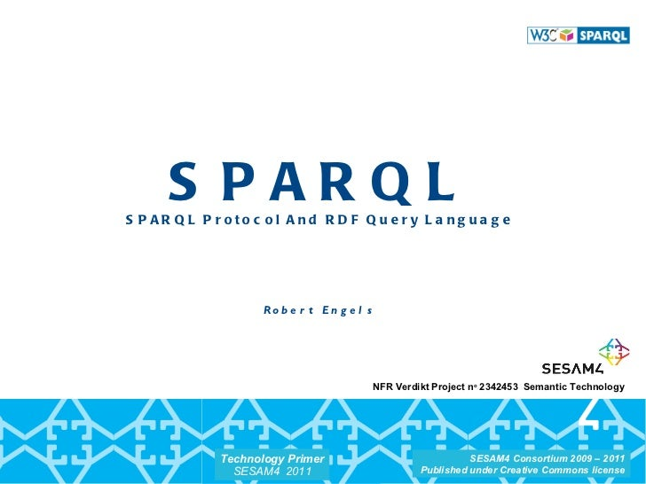 SPARQL SPARQL Protocol And RDF Query Language Robert Engels NFR Verdikt Project n o  2342453  Semantic Technology