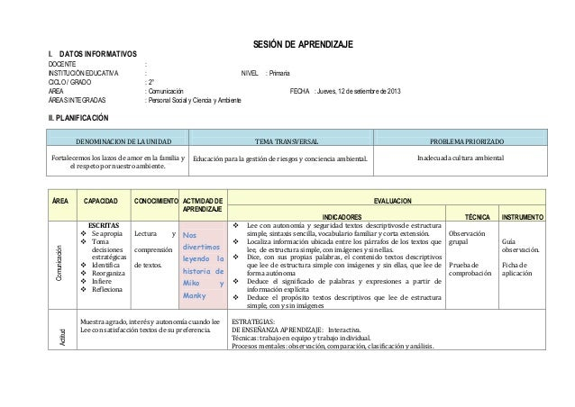 SESIÓN DE APRENDIZAJE I. DATOS INFORMATIVOS DOCENTE : INSTITUCIÓN EDUCATIVA : NIVEL : Primaria CICLO / GRADO : 2° AREA : C...