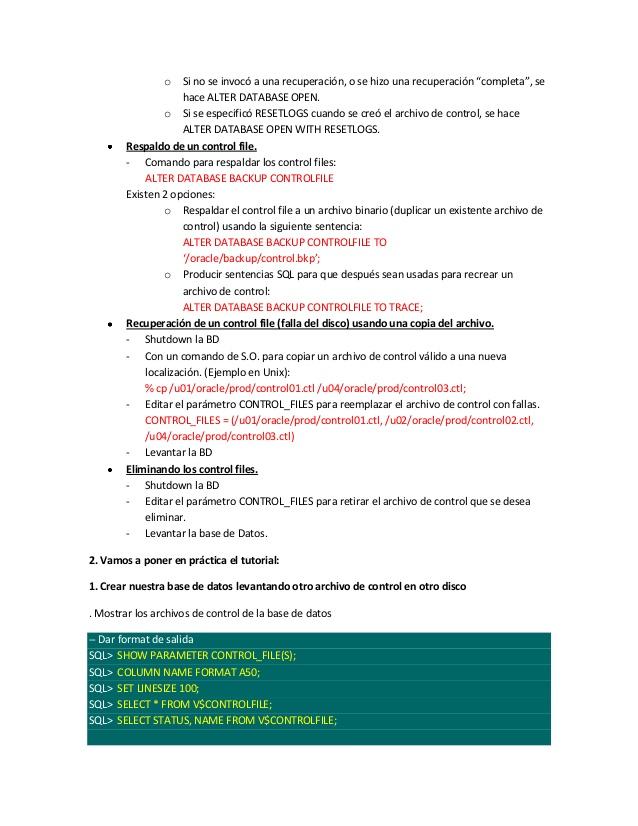 Sesi�n13 - Archivos de Control (Oracle)