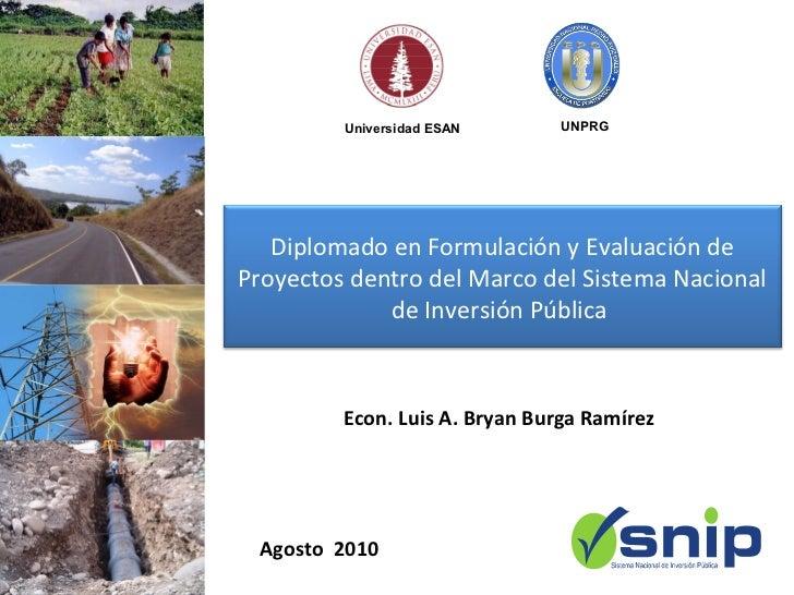 Universidad ESAN       UNPRG   Diplomado en Formulación y Evaluación deProyectos dentro del Marco del Sistema Nacional    ...