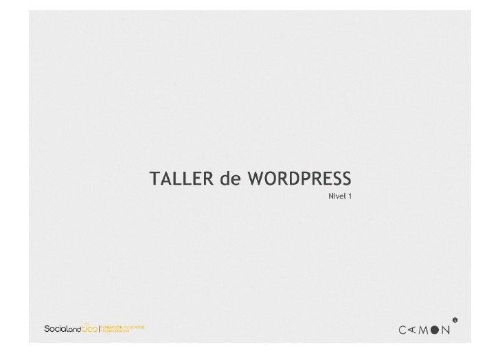 Sesión 1. Taller Wordpress CAMON Madrid.