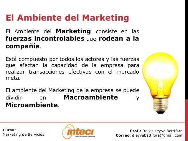 Prof.: Deivis Leyva Battifora Correo: dleyvabattifora@gmail.com Curso: Marketing de Servicios El Ambiente del Marketing El...