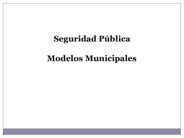 Seguridad Pública Modelos Municipales
