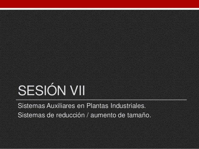 SESIÓN VII Sistemas Auxiliares en Plantas Industriales. Sistemas de reducción / aumento de tamaño.