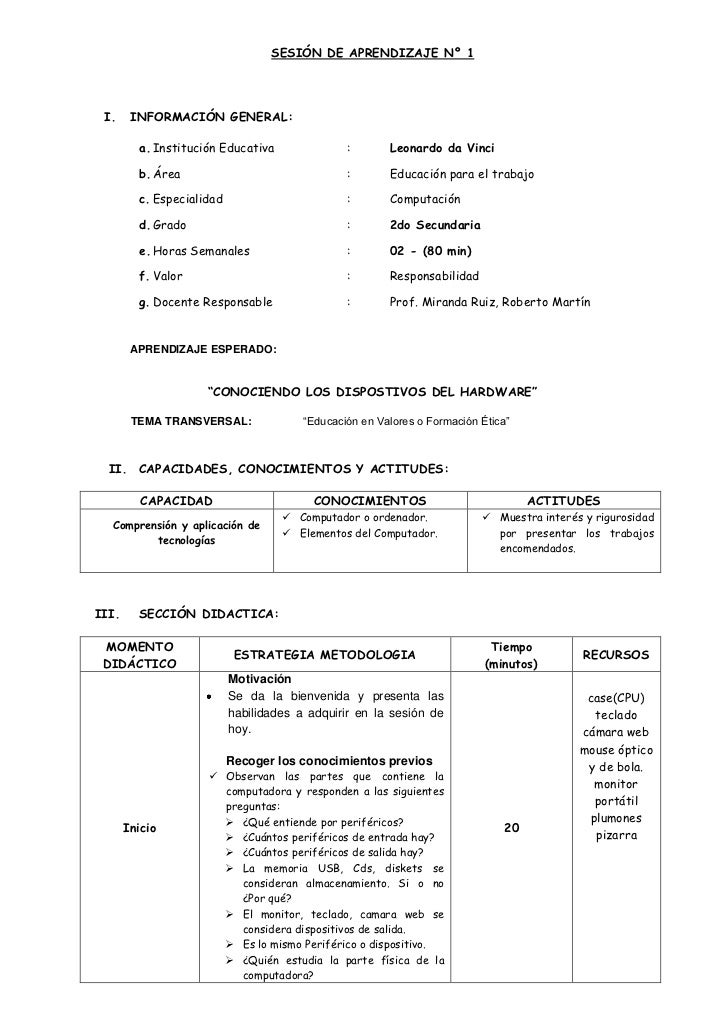 SESIÓN DE APRENDIZAJE Nº 1 I.     INFORMACIÓN GENERAL:         a. Institución Educativa               :       Leonardo da ...