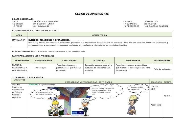 SESIÓN DE APRENDIZAJEI. DATOS GENERALES1.1 I.E          : REPÚBLICA DOMINICANA                                            ...
