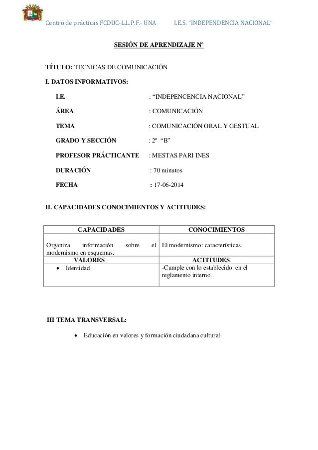 "Centro de prácticas FCDUC-L.L.P.F.- UNA I.E.S. ""INDEPENDENCIA NACIONAL"" SESIÓN DE APRENDIZAJE Nº TÍTULO: TECNICAS DE COMUN..."