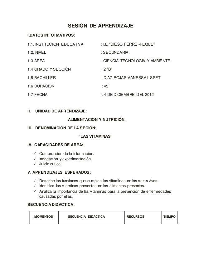 """SESIÓN DE APRENDIZAJE I.DATOS INFOTMATIVOS: 1.1. INSTITUCION EDUCATIVA : I.E """"DIEGO FERRE -REQUE"""" 1.2. NIVEL : SECUNDARIA ..."""