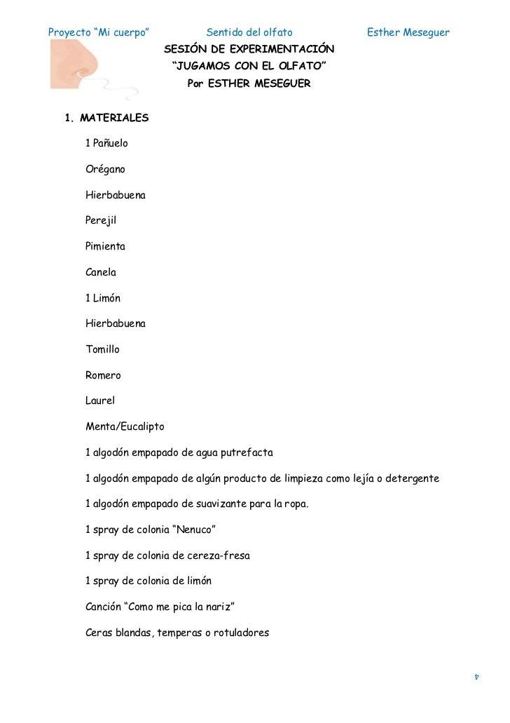 "Proyecto ""Mi cuerpo""            Sentido del olfato              Esther Meseguer                       SESIÓN DE EXPERIMENT..."