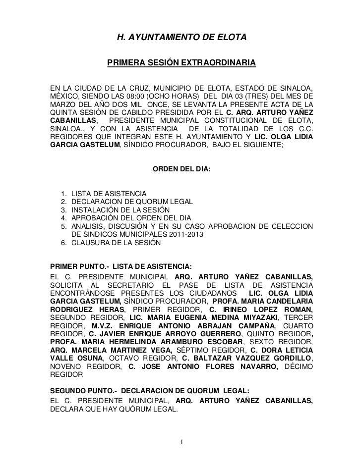 H. AYUNTAMIENTO DE ELOTA              PRIMERA SESIÓN EXTRAORDINARIAEN LA CIUDAD DE LA CRUZ, MUNICIPIO DE ELOTA, ESTADO DE ...