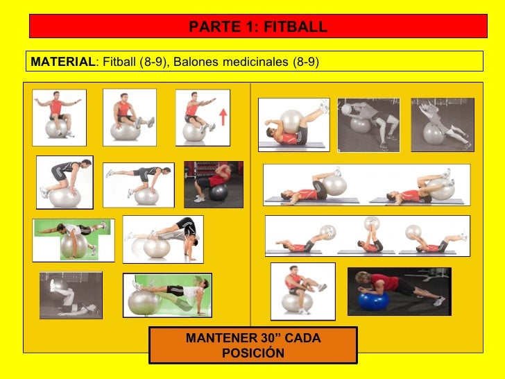 PARTE 1: FITBALL MATERIAL : Fitball (8-9), Balones medicinales (8-9)