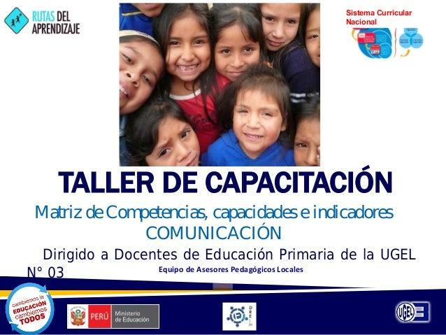 Sistema Curricular Nacional  TALLER DE CAPACITACIÓN Matriz de Com petencias, capacidades e indicadores COMUNICACIÓN Dirigi...
