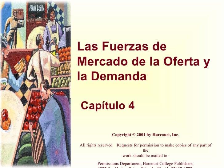 Las Fuerzas de Mercado de la Oferta y la Demanda Capítulo 4 Copyright © 2001 by Harcourt, Inc . All rights reserved. Req...