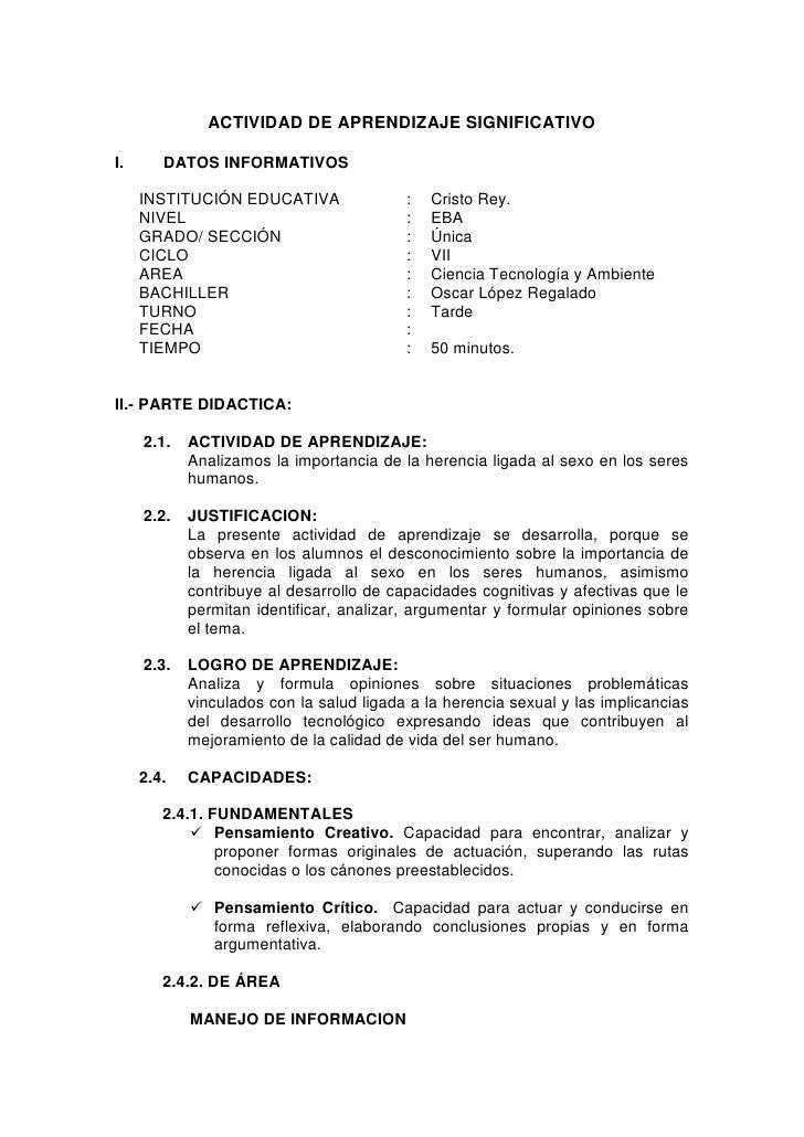 ACTIVIDAD DE APRENDIZAJE SIGNIFICATIVO  I.      DATOS INFORMATIVOS       INSTITUCIÓN EDUCATIVA                :   Cristo R...