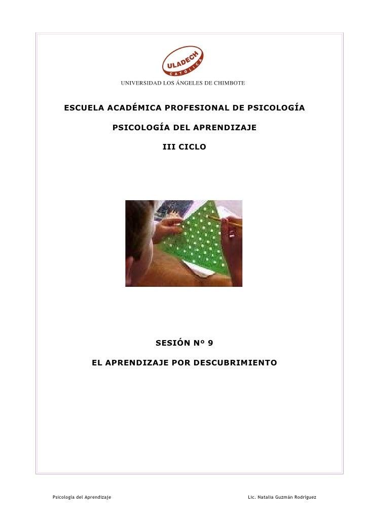 ESCUELA ACADÉMICA PROFESIONAL DE PSICOLOGÍA                             PSICOLOGÍA DEL APRENDIZAJE                        ...