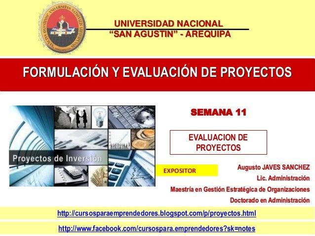 Sesion 11 formulacion y evaluación de proyectos