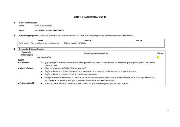 SESIÓN DE APRENDIZAJE Nº 11 I.     Datos informativos:        Fecha           : Para el 15/09/2012        Tema            ...