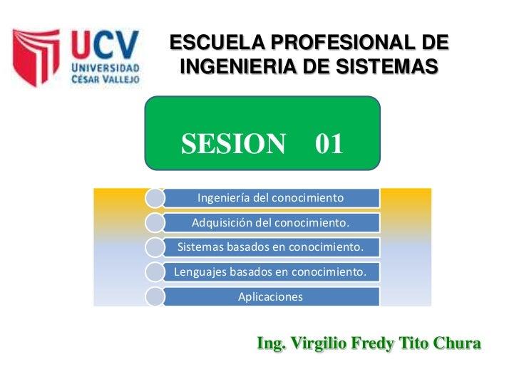ESCUELA PROFESIONAL DE INGENIERIA DE SISTEMAS SESION                   01    Ingeniería del conocimiento   Adquisición del...