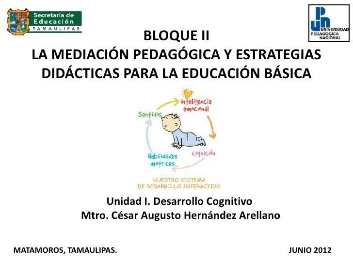 BLOQUE II   LA MEDIACIÓN PEDAGÓGICA Y ESTRATEGIAS    DIDÁCTICAS PARA LA EDUCACIÓN BÁSICA                  Unidad I. Desarr...