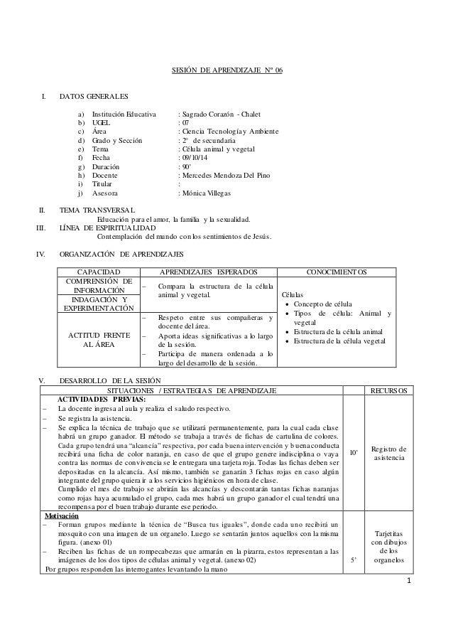 1  SESIÓN DE APRENDIZAJE Nº 06  I. DATOS GENERALES  a) Institución Educativa : Sagrado Corazón - Chalet  b) UGEL : 07  c) ...