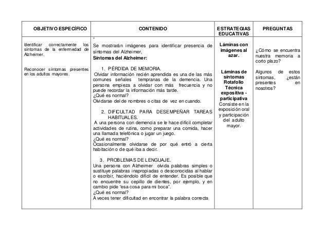 OBJETIVO ESPECÍFICO CONTENIDO ESTRATEGIAS EDUCATIVAS PREGUNTAS Identificar correctamente los síntomas de la enfermedad de ...