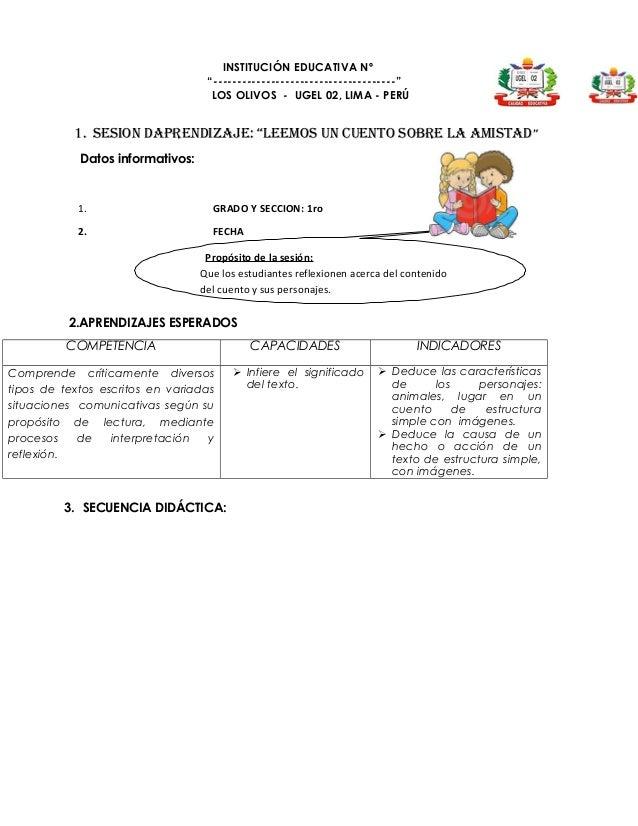 Sesiones de aprendizaje Soporte Pedagogico 1er grado primaria
