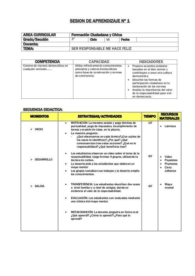 SESION DE APRENDIZAJE Nº 1 AREA CURRICULAR Formación Ciudadana y Cívica Grado/Sección 3ª Ciclo VII Fecha Docente; TEMA: SE...