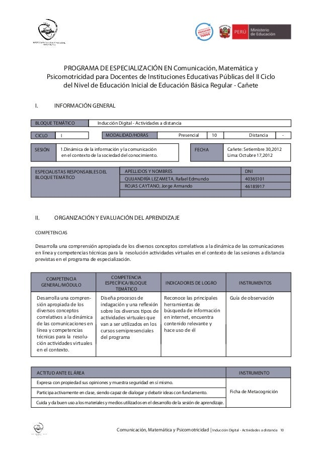 PROGRAMA DE ESPECIALIZACIÓN EN Comunicación, Matemática y       Psicomotricidad para Docentes de Instituciones Educativas ...