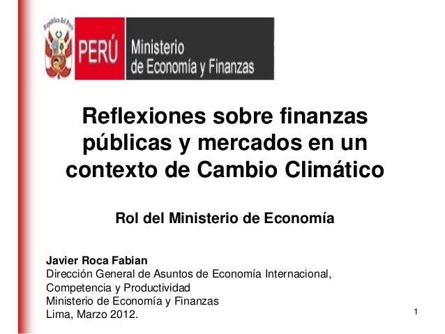 Reflexiones sobre finanzas    públicas y mercados en un   contexto de Cambio Climático             Rol del Ministerio de E...