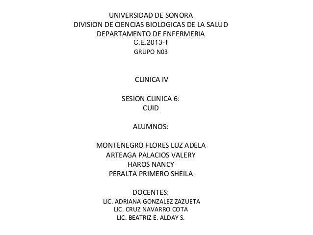 UNIVERSIDAD DE SONORADIVISION DE CIENCIAS BIOLOGICAS DE LA SALUDDEPARTAMENTO DE ENFERMERIAC.E.2013-1GRUPO N03CLINICA IVSES...