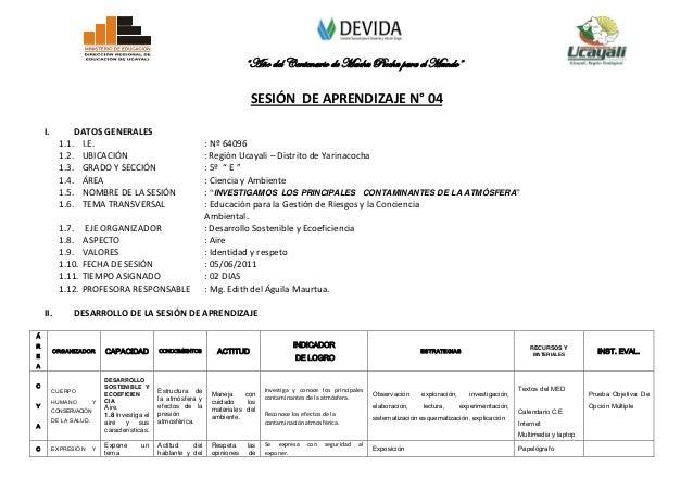 """SESIÓN DE APRENDIZAJE - 5° GRADO  """"INVESTIGAMOS LOS PRINCIPALES CONTAMINANTES DE LA ATMÓSFERA"""""""