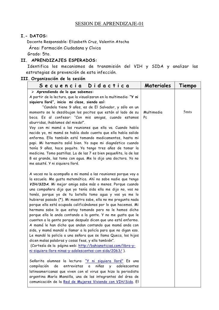 SESION DE APRENDIZAJE-01I.- DATOS:  Docente Responsable: Elizabeth Cruz, Valentin Atocha    Área: Formación Ciudadana y Cí...