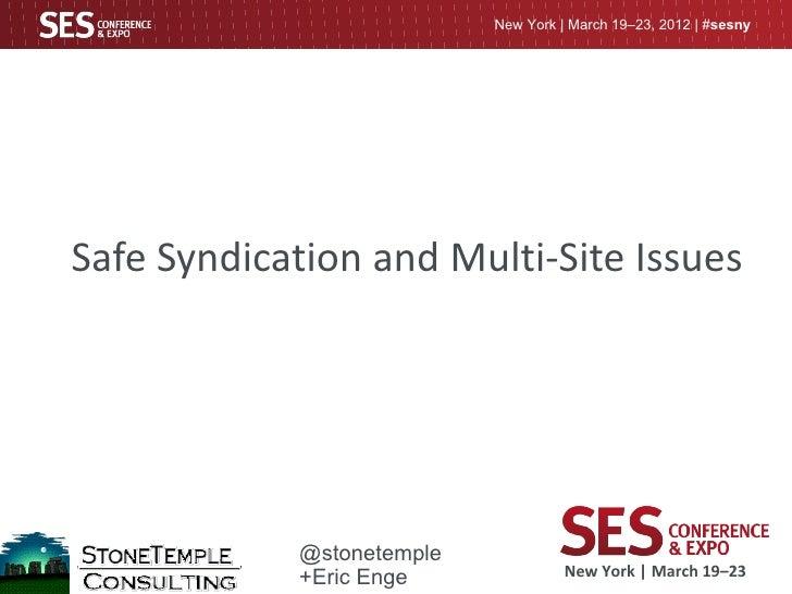 Duplicate Content Presentation SES NY 2012