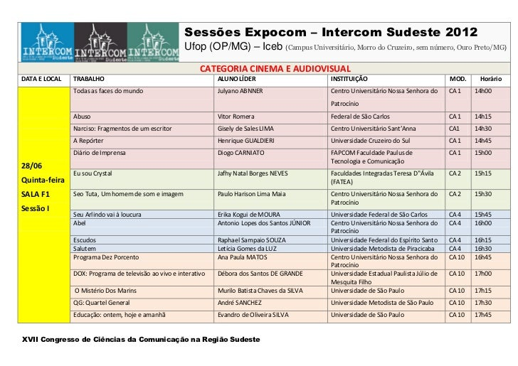 Sessões Expocom – Intercom Sudeste 2012                                                      Ufop (OP/MG) – Iceb (Campus U...