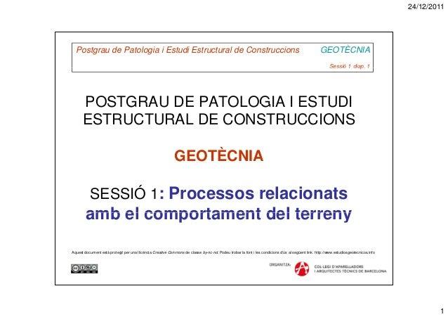 24/12/20111Postgrau de Patologia i Estudi Estructural de Construccions GEOTÈCNIASessió 1 diap. 1Sessió 1 diap. 1POSTGRAU D...