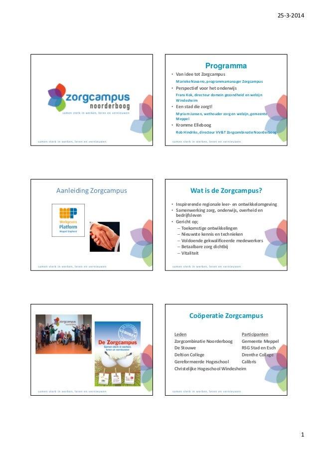 25-3-2014 1 Programma • Van idee tot Zorgcampus Marieke Navarro, programmamanager Zorgcampus • Perspectief voor het onderw...