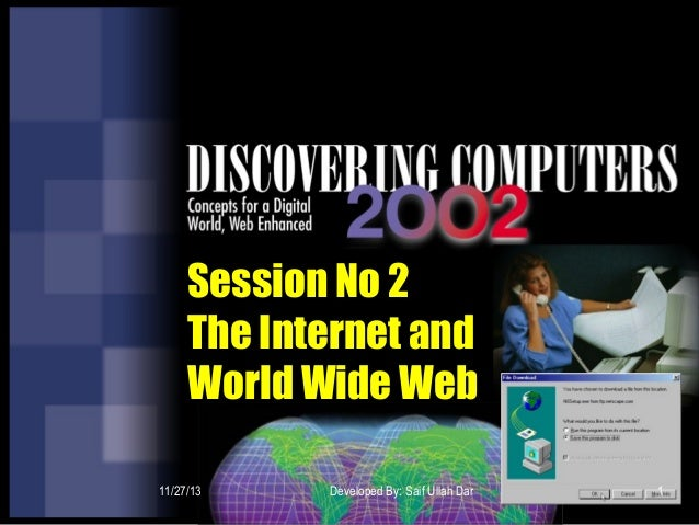 Session No 2 The Internet and World Wide Web 11/27/13  Developed By: Saif Ullah Dar  1