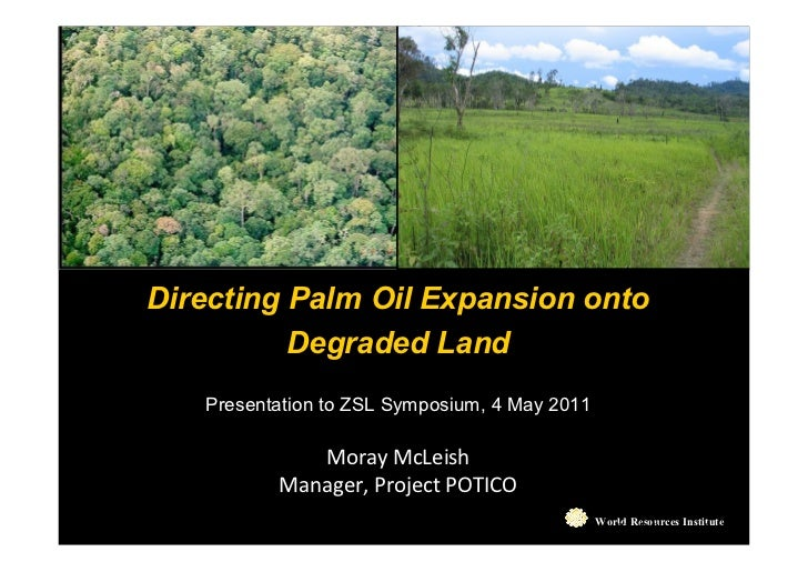 Directing Palm Oil Expansion onto          Degraded Land   Presentation to ZSL Symposium, 4 May 2011             Moray McL...