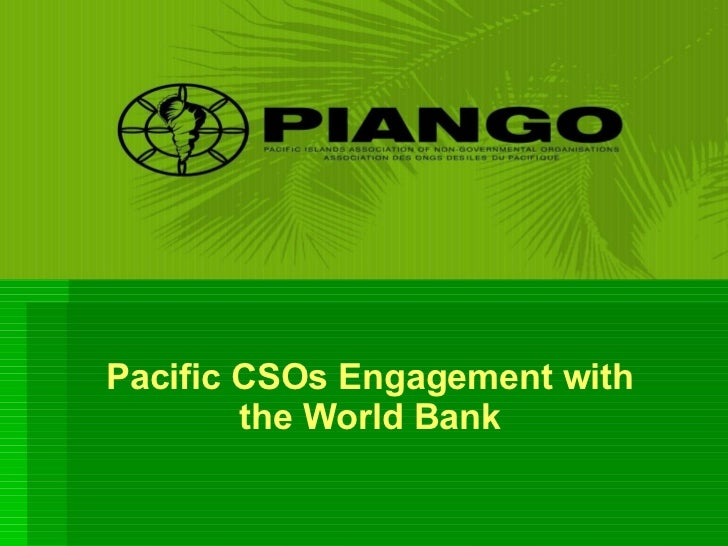 Pacific CSOs Engagement with the World Bank