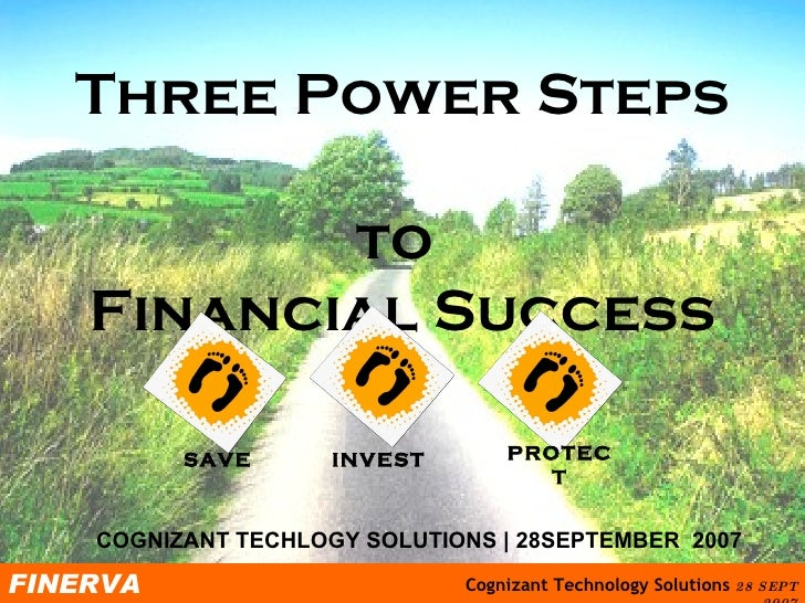 Three Power Steps  to  Financial Success COGNIZANT TECHLOGY SOLUTIONS | 28SEPTEMBER  2007 SAVE INVEST PROTECT