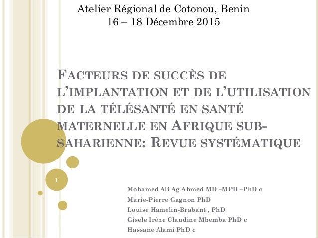 FACTEURS DE SUCCÈS DE L'IMPLANTATION ET DE L'UTILISATION DE LA TÉLÉSANTÉ EN SANTÉ MATERNELLE EN AFRIQUE SUB- SAHARIENNE: R...