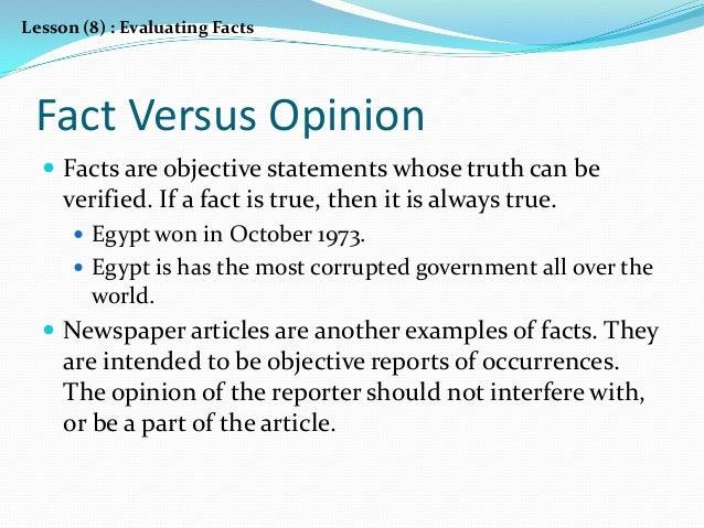 Fact vs opinion lesson high school