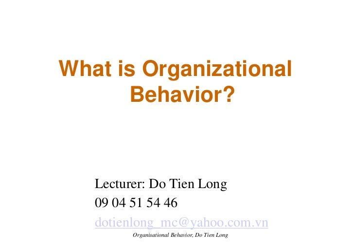 Organizational Behavior - Session 1