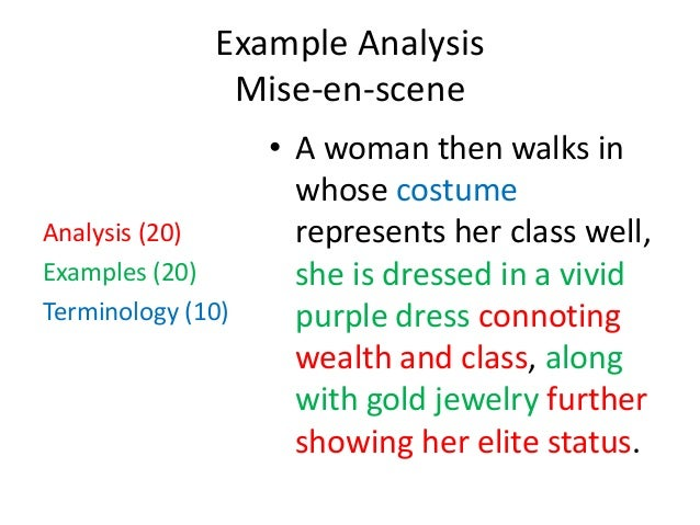 an analysis of mise en scene The graduate visual analysis nichols uses mise-en-scene, character placement and the lighting of scene to show emotions through the actors.