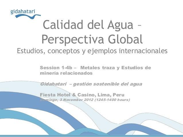 Calidad del Agua –       Perspectiva GlobalEstudios, conceptos y ejemplos internacionales       Session 1-4b – Metales tra...