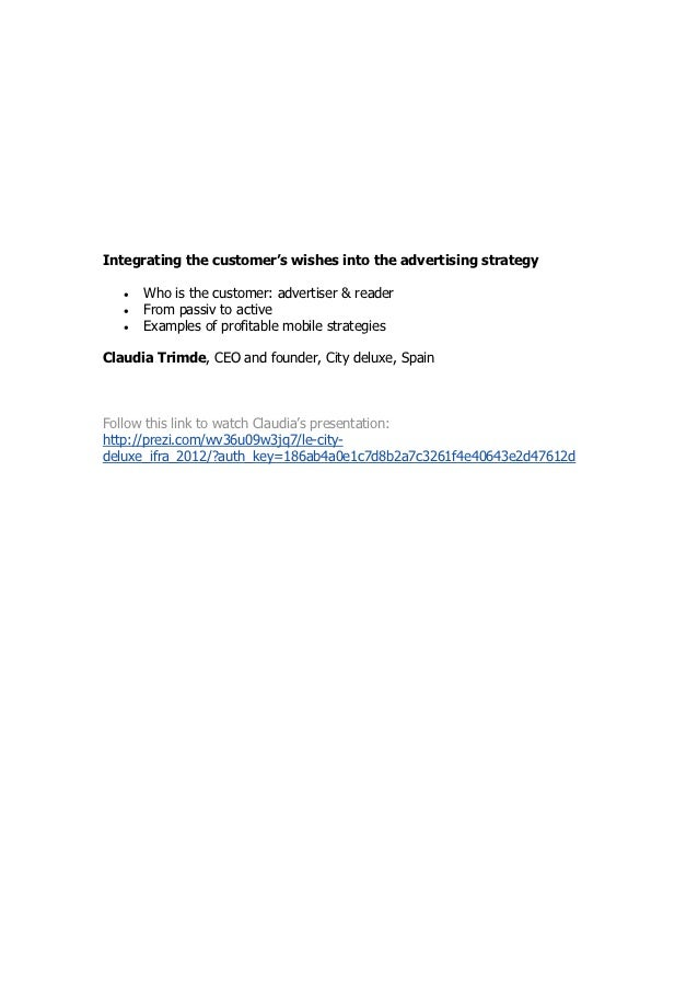 Integrating the customer's wishes into the advertising strategy   •   Who is the customer: advertiser & reader   •   From ...