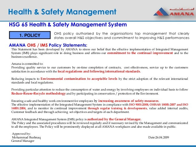 workplace safety health policy and objectives construction essay Workplace safety essay paper may 13 workplace safety is a kind of management responsibility in places of employment that includes health and safety of procedures, and practices safety inspections for workplace hazards safety goals, objectives and program audits safety tracking and.