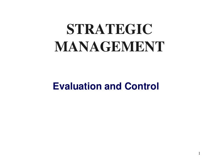 strategic evaluation and control pdf