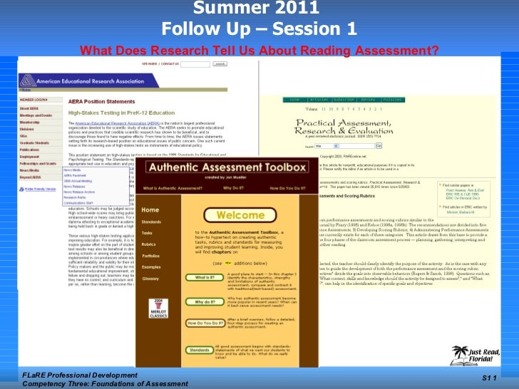Summer 2011  Follow Up – Session 1 FLaRE Professional Development Competency Three: Foundations of Assessment S1  What Doe...