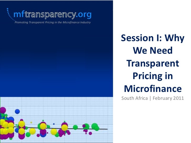 Session I: Why We Need Transparent Pricing in Microfinance_South Africa